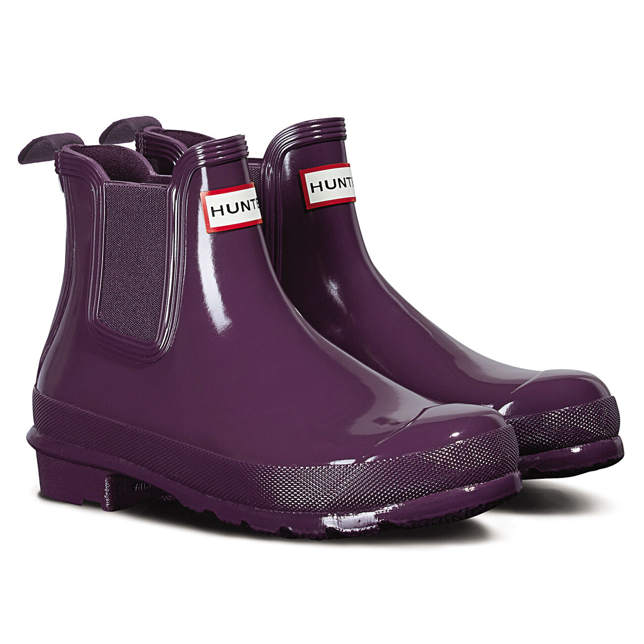 Genuine New Hunter Original Chelsea Donna Gloss Riccio di Viola Impermeabile Alla Caviglia B