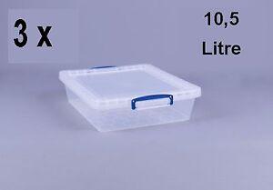 3-x-REALLY-USEFUL-BOX-10-5-Liter-Nestable-box-mit-Deckel-380x460x110mm-transp