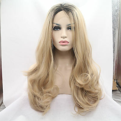 Synthetic Hair Lace Front Wigs Women's Blonde Wavy Wig Heat Resistant Party