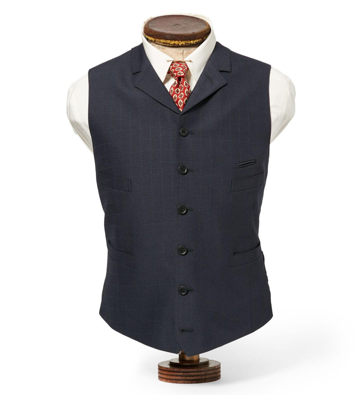 Double Ralph Lauren RRL Mens  Bryant Wool Slim Fit Windowpane Twill Vest