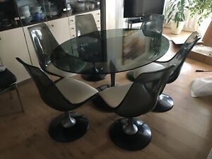 Miraculous Details About Vintage Retro Dining Set Glass Table Smoke Round 1970 With 6 Swivel Chairs Andrewgaddart Wooden Chair Designs For Living Room Andrewgaddartcom