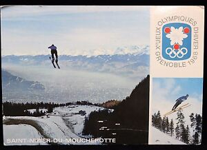 1968-France-Philatelique-Correspondence-Olympic-Canceled-Stamp-and-Postcard