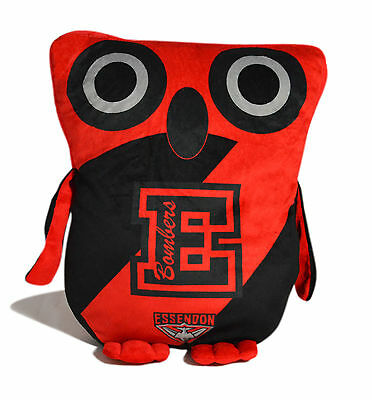 LARGE Licenced AFL Essendon Bombers OWL Cushion Pillow Teddy Girls Boys Gift