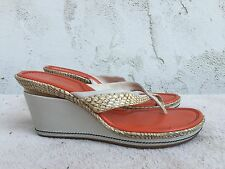 EUC COLE HAAN Ivory Orange Snakeprint Leather Wedge Thong Sandal US 9 B