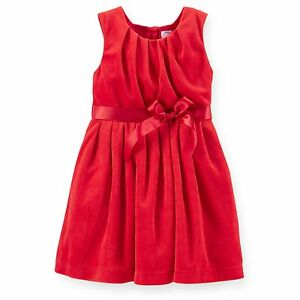 New carter s holiday dress red soft velvet lined christmas nwt 2 3t 4t