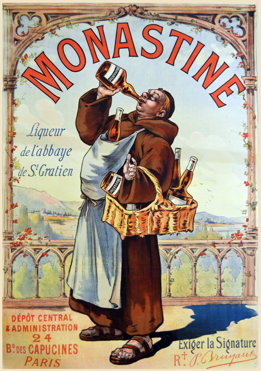 16x20  CANVAS Decor.Room design art print..Monastine.Wino monk.French.6132