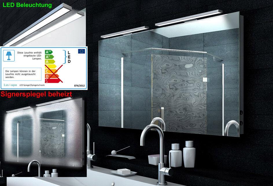 Luxaqua Design Lichtspiegel Badezimmerspiegel mit Heizfolie LED 130x65 MA65130