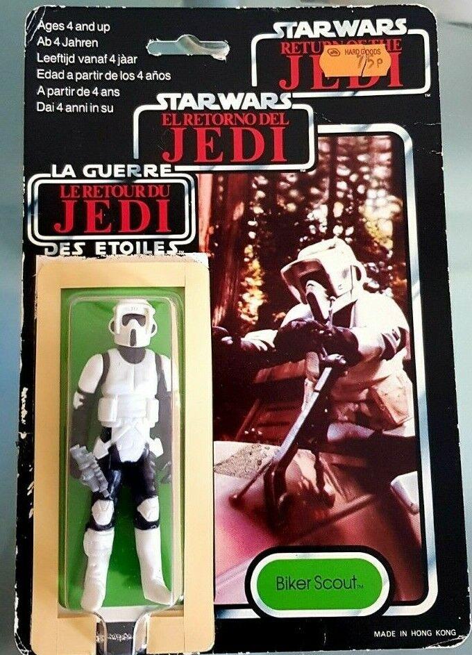 VINTAGE Star Wars Scout Biker Figura 1983 (& Pistol) Tri-Logo Card & Bolla
