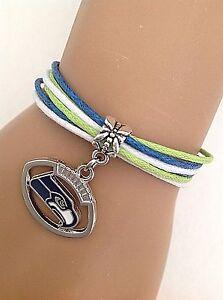 Sports Mem, Cards & Fan Shop Seattle SEAHAWKS charm Bracelet Football NFL Bangle Fast Shipping US SELLER