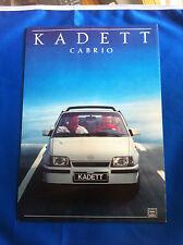 Mehrseitiger Prospekt Opel Kadett Cabrio mit Datenblatt incl. GSI