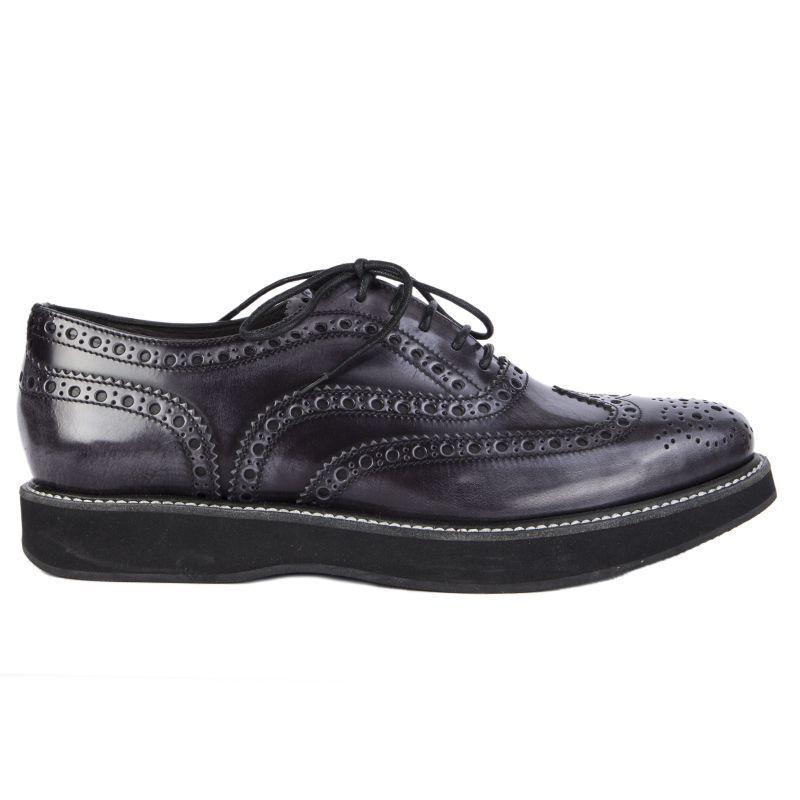 53764 gris Auth de la iglesia de de de Cuero Esmaltado Estilo Derby Flats zapatos 37.5  compra en línea hoy