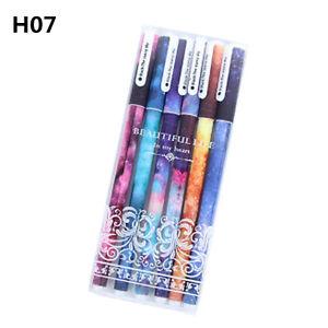 6Pcs 0.38mm Sky Starry Gel Pen Students Office Writing Stationery Gel Pen School