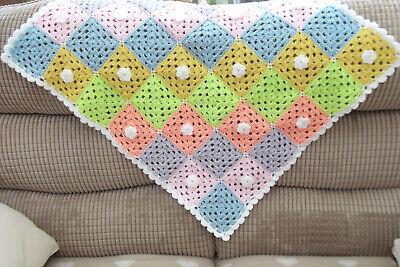 Hand crocheted baby/'s blanket//shawl//car seat//pram//crib white Pink and Grey
