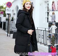 Winter coat Women's Slim Down cotton Hooded Long coat jacket UK size 4 6 8 10 12