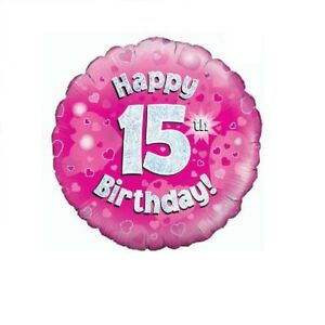 Image Is Loading Happy 15th Birthday Holographic Pink Foil Balloon 45