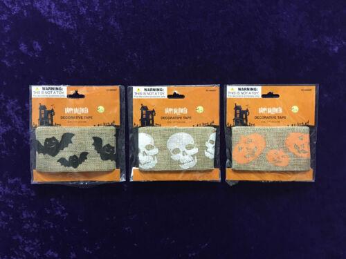 "Halloween Burlap Craft Ribbon Bats Skulls Pumpkins 7/' x 3/"" 2nd Ships FREE"