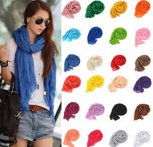 Fashion-Women-039-s-Soft-Wrinkle-Cotton-Blend-Scarf-Wrap-Shawl-85x150cm