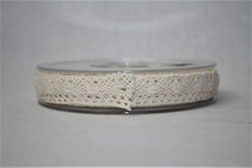 Natural Beige Cotton Lace Narrow Ribbon 9mm x 20m Wedding Craft Trim
