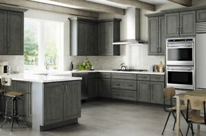 newest f2184 399f3 Details about Driftwood Gray Shaker Kitchen Cabinets-SAMPLE RTA-All wood,  IN STOCK-QUICK SHIP