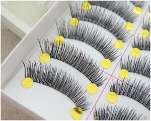 10-Pairs-Set-Handmade-False-Eyelashes-Transparent-Band-Natural-Thick-Eyelash
