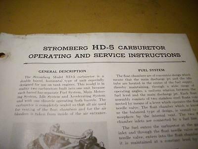 1944 Stromberg HD-5 Carburetor Service Booklet | eBay