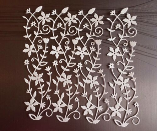 4 SUCH PRETTY WHITE FAIRYTALE FLORAL BORDERS NOTICE THE INTRICATE DETAIL.