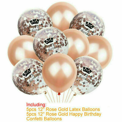 Rose Gold Happy Birthday Number Foil Balloons Bunting Banner 18//21//30//40th Decor