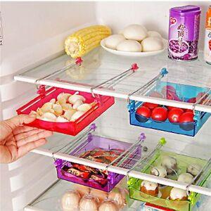 Image is loading Storage-Rack-Fridge-Freezer-Space-Saver-Storage-Baskets-  sc 1 st  eBay & Storage Rack Fridge Freezer Space Saver Storage Baskets Pull-out ...