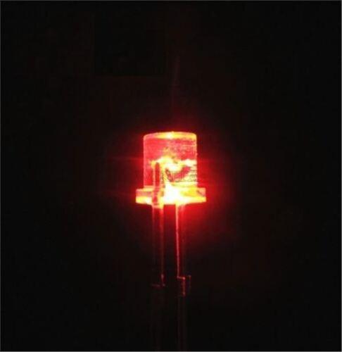 30Pcs Flat Top 5Mm 2Pin Wide Angle Flat Head Light Lamp Red Led New Ic ka