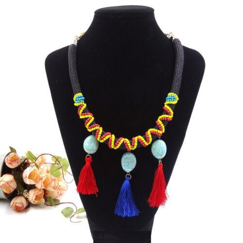 Tribal Ethnic Tassel Fringe Statement Pendant Necklace Bib Boho Beaded Jewelry