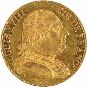 Louis-XVIII-20-Francs-or-1815-Londres-rare-Superbe-brillant-de-frappe