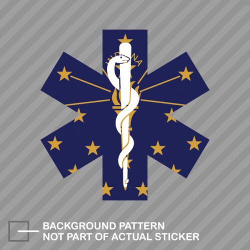 Indiana State Shaped EMT Flag Sticker Decal Vinyl EMS Paramedic IN
