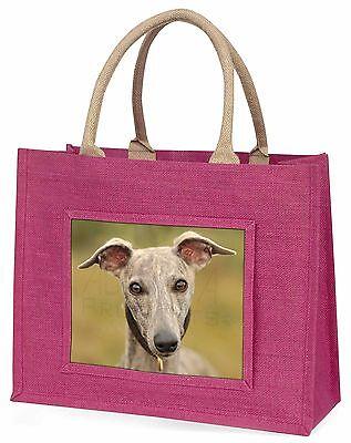 Eine Wunderschön Whippet Hund Große Rosa Einkaufstasche Weihnachtsgeschenk Ide,