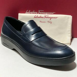 53542b85319 Image is loading Ferragamo-Navy-Leather-Fashion-Penny-Dress-Loafers-10-