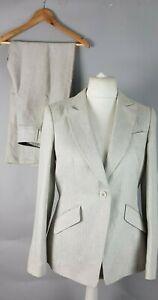 Ladies-Autograph-M-amp-S-Beige-Linen-Pinstripe-Trouser-Jacket-Suit-UK-12-Summer