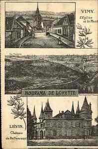 Vimy-Lievin-Frankreich-France-AK-1910-Eglise-Kirche-Panorama-de-Lorette-CPA