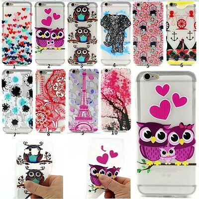 Rubber Silicone Clear Soft TPU Cute Back Cover Case For iPhone Samsung Galaxy LG