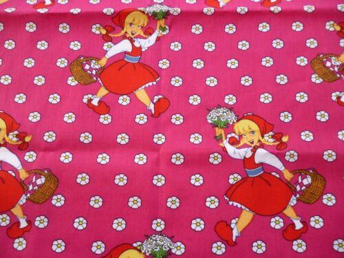 1 Stück Stoffreste Stoffpaket Baumwollstoffe Märchen Mädchen Korb Blumen pink