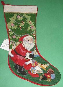 Image Is Loading Sferra Needlepoint Christmas Stocking Santa At Tree With