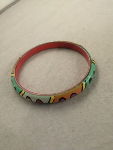 Vtg Bangle Bracelet Carved WOOD Painted RAINBOW AB