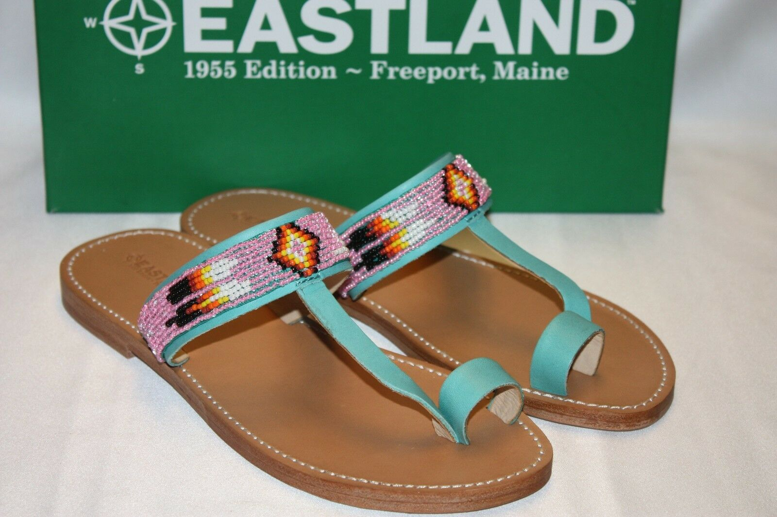 NEW NIB EASTLAND 1955 Ed HICKORY Aqua Beaded Leder Toe Ring Sandale 6 9 10 155