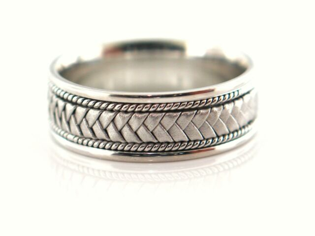 Clearance 14k White Gold Men S Braided Comfort Fit Wedding Band Size