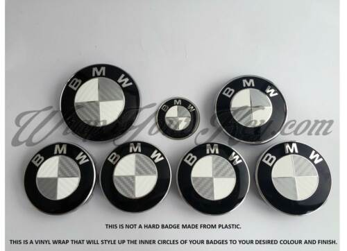WHITE /&SILVER CARBON FIBER Badge Overlay FOR BMW HOOD TRUNK RIMS @FITS ALL BMW@