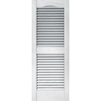 15 X 39 In White Exterior Window Shutters Pair Louvered