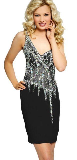 0c846eec5e JOVANI ~Black Mesh Silver Embellished One Shoulder Sheath Party Dress 6 NEW   318
