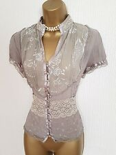 GOTHIC Semi Sheer Highneck Blouse 10 12 Lace Victorian Vintage Steampunk