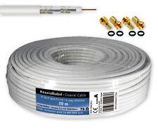 20 m SAT Kabel Koaxialkabel 120 dB Antennenkabel 4-fach geschirmt + 4 F-Stecker