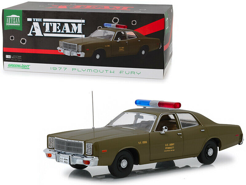 vertlight 1 18 The A-Team 1977 Plymouth Fury U.S Army Diecast Modèle Vert 19053