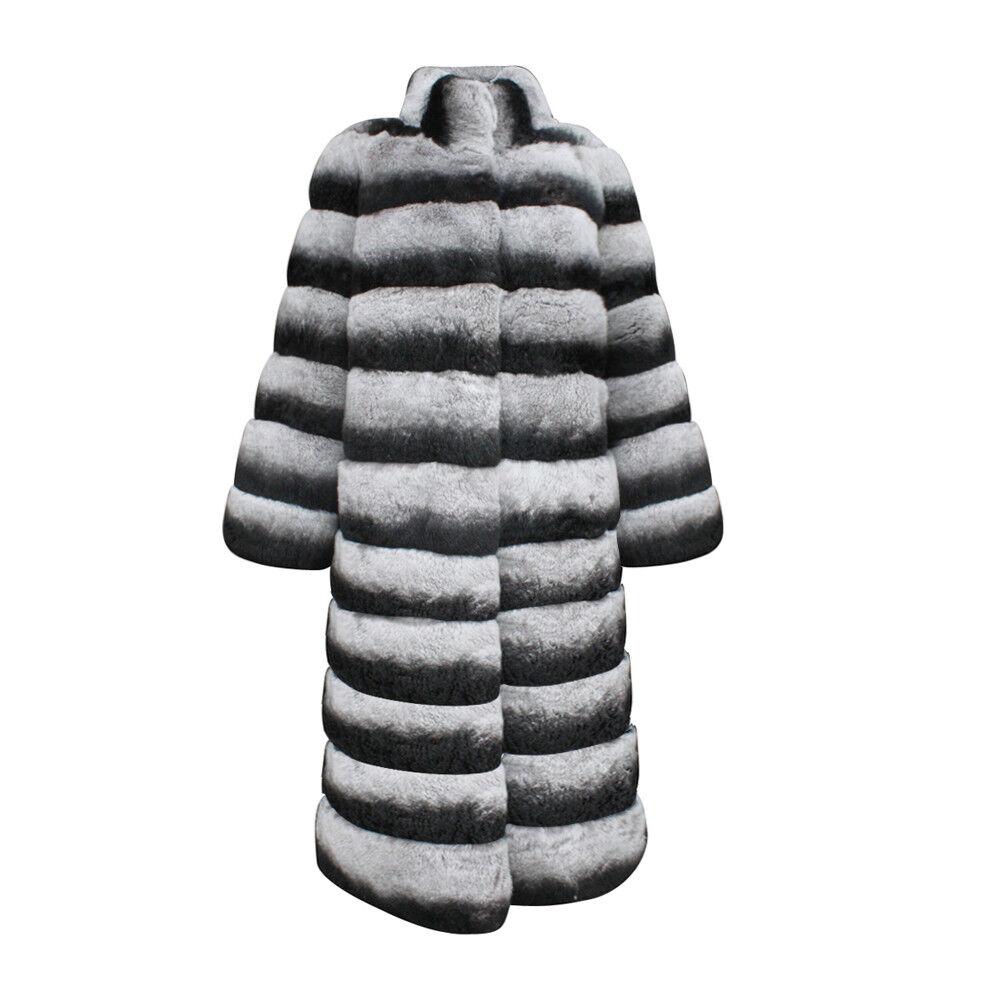 90cm Long Russian lyx Fur  Rex Rabbit Furcoat  grå Stripped Outwear  Plus Storlek