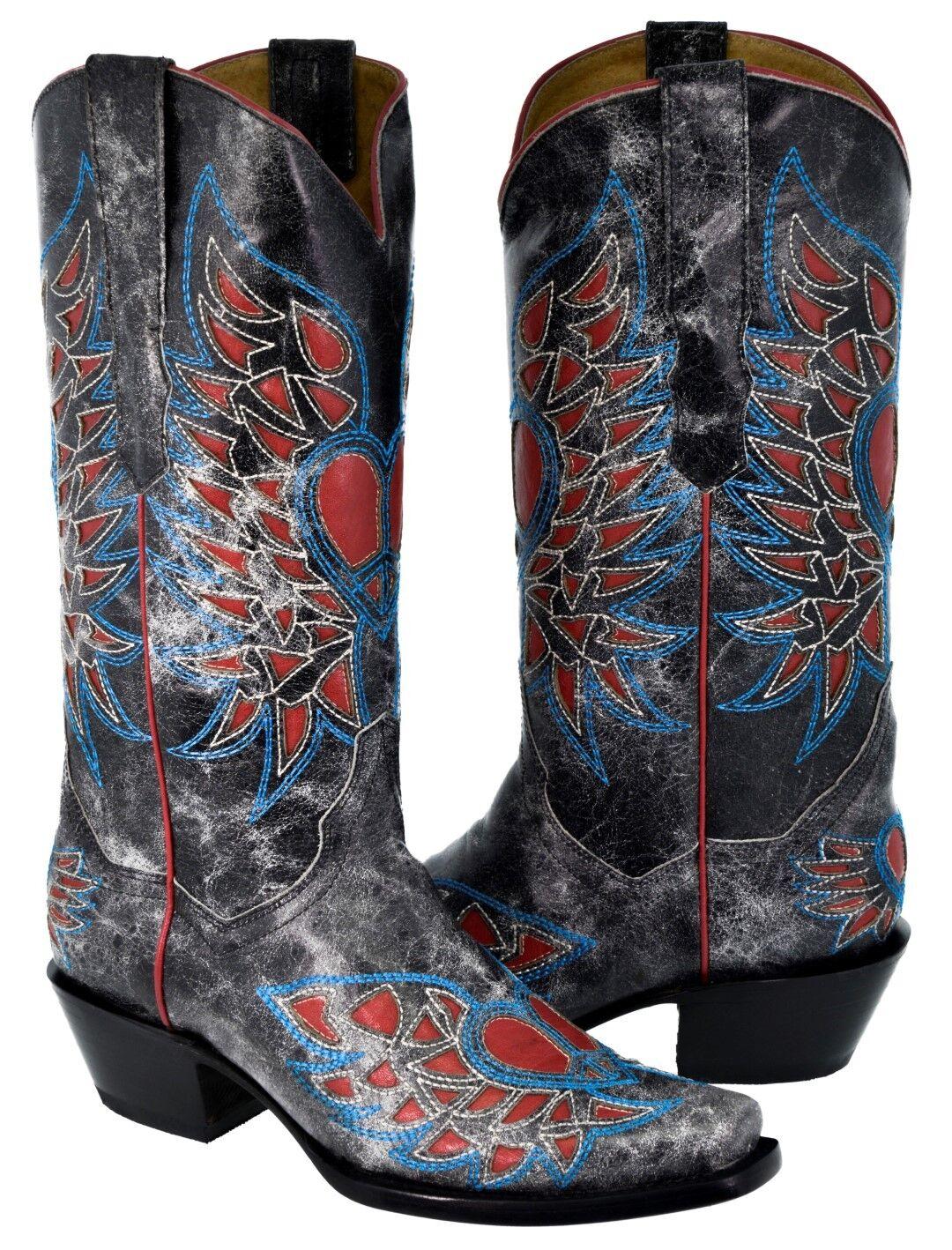 rivenditore di fitness donna Heart Wings Inlay Inlay Inlay nero Distressed Leather Cowboy stivali Western Wear  elementi di novità